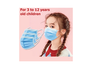 50 Pieces 3-Layer Disposable Face Masks for 3-12 Years Old Children -Protect Kids from Dust, Germs and Pollen Blue Kids Mask