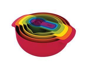 Set of bowls, egg-beater set, sink, 9-piece rainbow set of bowls, baking kitchen household