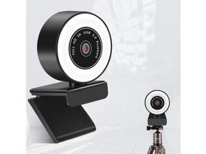 Webcam, mini USB Drive-Free HD Fill Light Camera with Microphone, Pixel: 5.0 Million Pixels 2K Auto Focus