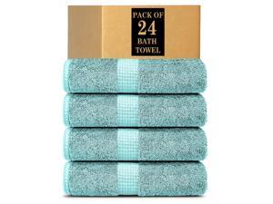 Lavish Touch 100% Cotton 600 GSM Melrose Pack of 24 Bath Towels Sea Green