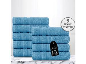 Lavish Touch 100% Cotton Pack of 9 Wash Towels