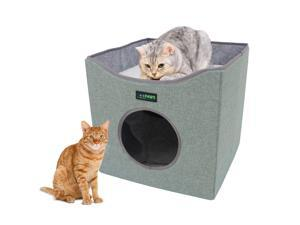 GOOPAWS Foldable Cat Condo Bed, Cat Cube House & Sleeping Bed with Lying Surface and 2 Reversible Cushions, Cat Hiding Place, Cat Cave, Linenette Fabric, Felt and Engineered Wood, Scratch Resistant