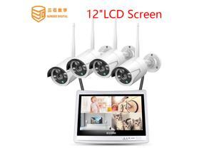 SUNSEE DIGITAL 12'' Displayer 4pcs 1080P Wireless CCTV IP Camera System 4CH NVR wifi video surveillance home Security System Kit