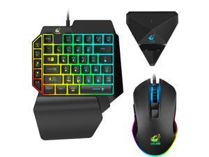 One Handed Gaming Keyboard Mouse and Adapter Combo,  Wired Mechanical Feel Rainbow Backlit Half Keyboard, Support Wrist rest, USB Wired Gaming Mouse for Gaming (39 Keys)