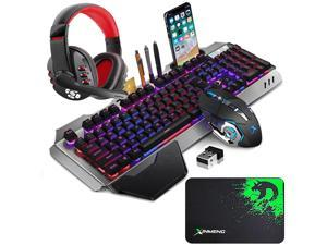 Wireless Gaming Keyboard Mouse and Bluetooth Headset Kit, Rainbow Backlit Rechargeable Ergonomic Metal Mechanical Feel Keyboard with Removable Palm Rest for Laptop PC Gamer