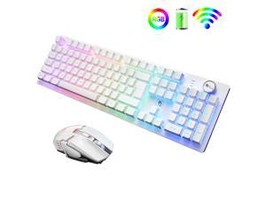 Rechargeable 2.4G Wireless Keyboard and Mouse Combo Mechanical Feel Backlit Gaming Keyboard & Mouse for Laptop Computer and Mac