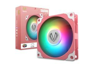 Vetroo Sakura Pink Frame 120mm ARGB LED Case Cooling Fan Computer PC Cooler High Airflow High-Performance Controller Free with 5V 3pin Motherboard Sync