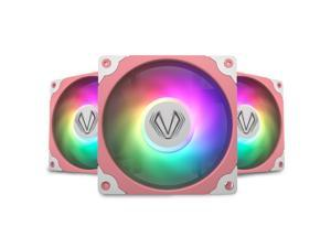 Vetroo Sakura Pink Frame 120mm ARGB LED Case Cooling Fan Computer PC Cooler High Airflow High-Performance Controller Free with 5V 3pin Motherboard Sync - 3 Pack