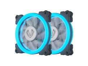 Vetroo 2 Packs 120mm 12cm Halo Ring Ice Blue LED PC CPU Computer Case Cooling Neon Quite Clear Fan Mod 4 Pin/3 Pin for PC Case/CPU Cooler