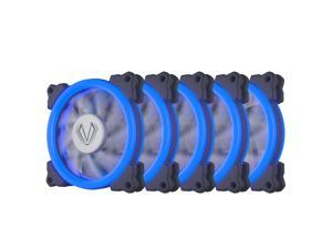 Vetroo Pack of 5 120mm 12cm Halo Ring Blue LED PC CPU Computer Case Cooling Neon Quite Clear Fan Mod 4 Pin/3 Pin for PC Case/CPU Cooler