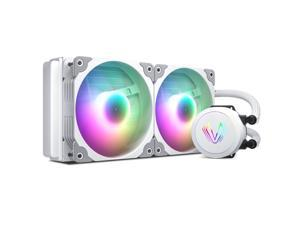 Vetroo V240 White 240mm Radiator Addressable RGB All-in-one AIO CPU Liquid Water Cooler for Intel 1150/1151/1156 and AMD AM2/AM3/AM4, 2X 120mm ARGB PWM Fans