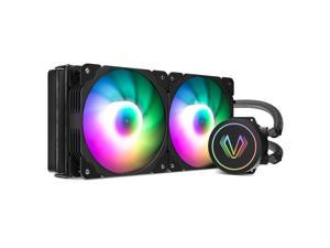 Vetroo V240 Black 240mm Radiator Addressable RGB All-in-one AIO CPU Liquid Water Cooler for Intel 1150/1151/1156 and AMD AM2/AMD3/AM4, 2X 120mm ARGB PWM Fans