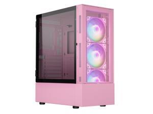 Vetroo A03 ATX Mid-Tower PC Gaming Case Pre-installed 3pcs ARGB PWM Fans w/ Controller, Door Opening Hinged Tempered Glass Side Panel, High Airflow Mesh Front and Dust Filter-Pink