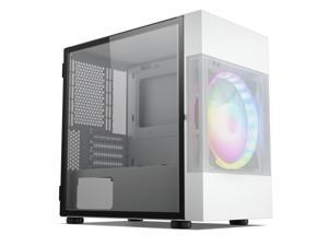 Vetroo M01 Compact Micro-ATX Mini ATX PC Gaming Case with 200mm LED Fan, Mini-Tower Door Opening Tempered Glass Panel, Mesh Air-Water Cooling Support-White