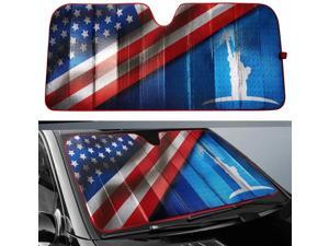 Big Ant Car Windshield Sun Shade, Statue of Liberty and American Flag Design Sunshades Keep Vehicle Cool Protect Your Car from Sun Heat & Glare Best UV Ray Visor Protector(63 X 28.5inch)