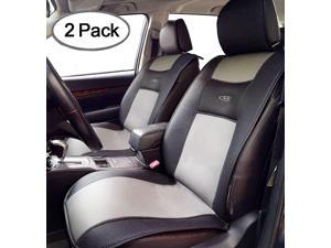 Big Ant Breathable 2pc Universal Car Seat Cover PU Leather Cushion for Car,Truck,SUV - Black&Gray