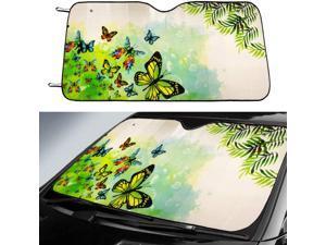 Big Ant Car Sun Shade, Windshield Sun Shade Butter-Fly Design Sunshades Keep Vehicle Cool Best UV Ray Sun Visor Protector Prevent Your Car from Sun Heat & Glare(Green Size: 58 X 28.5inch)