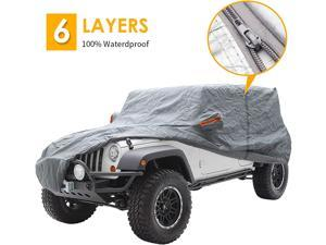 Big Ant Car Cover for Wrangler 4 Door SUV Covers,All Weather Protection 100% Waterproof SUV Cover Custom Fit for 1987-2021 Wrangler CJ,YJ, TJ & JK with Driver Door Zipper,Gray
