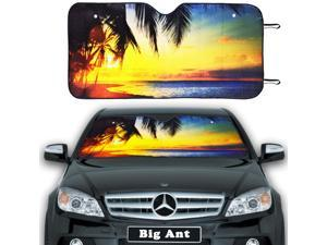 Big Ant Windshield Sun Shade, Front Car Sun Shade Auto Sunshades Keeps Vehicle Cool, Accordion Folded UV Ray Protector Sunshade(55.16x26.8inch)
