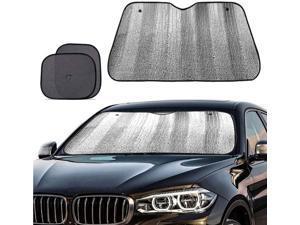 Big Ant Windshield Sun Shade + Bonus Car Window Shade, Car Sun Shade Keeps Vehicle Cool-UV Ray Protector Front Windshield Sunshade Fit for Most Cars SUV Trucks Minivans(55.1 x 27.5 inches)
