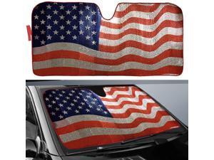 "Big Ant Car Sun Shade, Windshield Sun Shade American Flag Sunshades Keep Vehicle Cool Best UV Ray Visor Protector Prevent Your Car from Sun Heat & Glare(Size: 63""X 28.5"")"