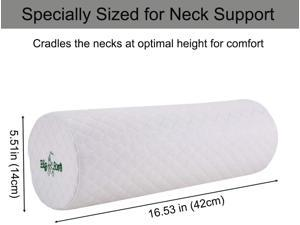 Big Ant Neck Roll Pillow Cervical Bolster with Removable Soft Cover - Memory Foam Round Cylinder Bolster