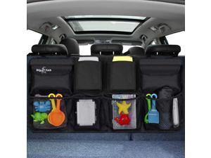 Backseat Trunk Organizer, Hanging Seat Back Storage organizer, Space Saving Car Trunk Storage Organizer with Lid  8 Large Pockets Car Organizer for Kids,Travel  (34 x 18 inch)