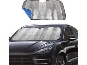 "Foldable Car Windshield Sun Shade, UV Ray Reflector, Auto Front Window Sun Shade, Keeps Vehicle Cool - Blue (55"" x 27.5"")"