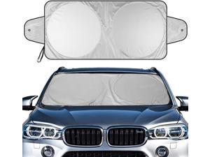 "Car Windshield Sun Shade - 2 Ears Functional Installation Car Sun Shade, Keeps Vehicle Cool   ( Sliver/ Black - Size 63"" x 35"" )"