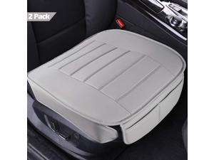 Car Seat Covers 2 Pack, Edge Wrapping Car Front Seat Covers Pad Mat for Auto Supplies Office Chair with PU Leather (Grey)