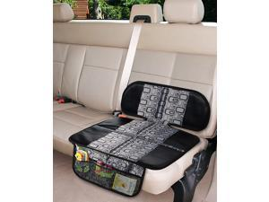 Car Seat Protector Thick Padding - Auto Seat Cover Mat for Baby Child Car Seats, Waterproof 600D Fabric, Vehicle Dog Cover Pad for SUV Sedan Leather Seat, 3 Organizer Pockets for Storage, Gray