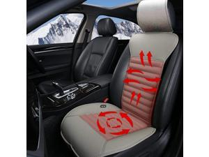Sleek Design Heated Car Seat Cushion for 12V/ 24V, Heated Pad, Seat Warmer Cover, Universal Fit for Car, Home, Office Chair  - Black/ Gray