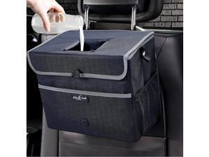 Big Ant Car Trash Can with Lid, Waterproof Auto Garbage Bin, Leak-Proof Car Storage Bag, Car Garbage Bag,Collapsible Car Trash Bin(Large, Black)