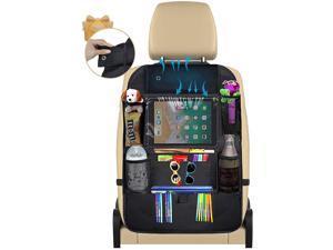 Car Backseat Organizer, Kick Mats with Bamboo Charcoal Air Purifying Bag, 9 Storage Pockets Perfect Travel Accessories 1 Pack - Black