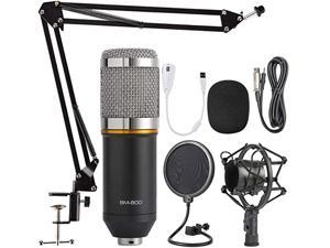 Condenser Microphone Bundle, BM-800 Mic Kit with Adjustable Mic Suspension Scissor Arm, Metal Shock Mount and Double-Layer Pop Filter for Studio Recording & Broadcasting (Silver)
