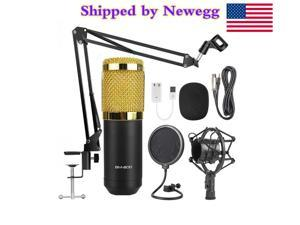 Condenser Microphone Bundle, BM-800 Mic Kit with Adjustable Mic Suspension Scissor Arm, Metal Shock Mount and Double-Layer Pop Filter for Studio Recording & Broadcasting (Gold)