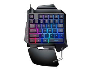 Wired Mechanical One-Hand Gaming Keyboard Portable LED Backlight Mini Gaming Keyboard for PUBG / CF