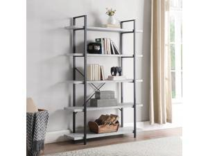 Industrial Bookshelf Open Wide Office Etagere Book Shelf Wood And Metal Bookcases,4 Shelves,Stone Gray