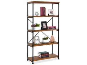 5-Tier Rustic Industrial Bookshelf Display Decor Accent w/ Metal Frame, Wood Shelves - Brown