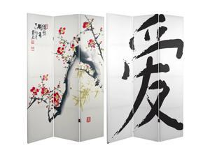 6 Ft Tall Double Sided Cherry Blossoms and Love Canvas Room Divider, Asian, 3 panel