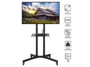 Adjustable Modern Mobile TV Stand Cart for 32-65in Screens Rolling TV Cart