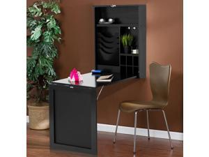 Wall Mounted Table Convertible Desk Fold Out Space Saver Chalkboard Black