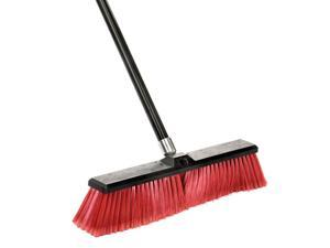 """18"""" Commercial Multi-Surface Push Broom, Red"""