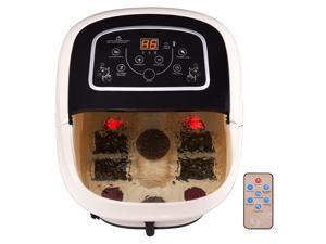 All-In-One Foot Spa Bath Massager Tem/Time Set Heat Bubble Vibration W/4 Roller