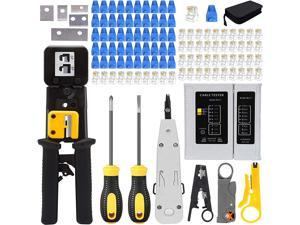 Crimping Tool Kit for RJ11/RJ12/CAT5/CAT6/Cat5e, Professional Computer Maintenacnce Lan Cable Tester Network Repair Tool Set,Wire Crimper Wire Connector Stripper Cutter (Black)