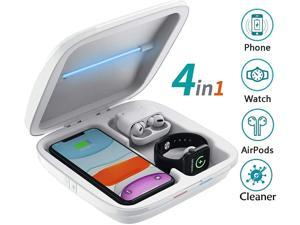 UV Wireless Charger Phone Cleaner, Smartphone Cleaning Multi-Function Box, 4 in 1 QI Wireless Phone Charging Station, Compatible with iPhone 11 Pro Max X Xs XR 8 Apple iwatch 5 4 3 Airpods Pro