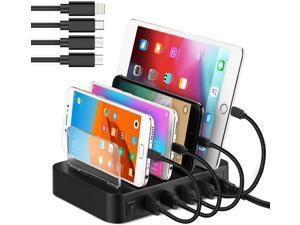 Fastest USB Smart Charging Station with Quick Charge QC 3.0-6-Port-Multi Device Charger Organizer Desktop Charger,Charging Stand Organizer for Smart Phone,Tablet and Other USB(black, 4-ports)