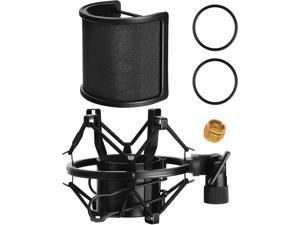 Microphone AT2020 Shock Mount with Pop Filter,  Universal Shock Mount for 46mm-53mm Diameter Mic compatible for AT2020 Anti-Vibration Suspension Microphone Shock Mount Bonus Screw Adapter