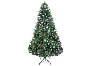 Artificial Christmas Tree 7 Foot Flocked Snow Trees Pine Cone Decoration Unlit(7 Foot Upgrade)