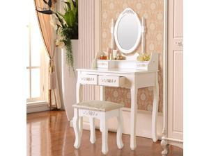 Elegance White Dressing Table Vanity Table and Stool Set Wood Makeup Desk with 4 Drawers & Mirror